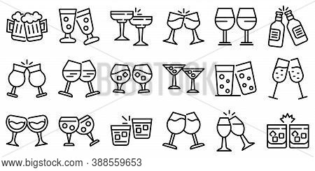 Cheers Icons Set. Outline Set Of Cheers Vector Icons For Web Design Isolated On White Background