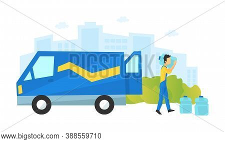 Male Courier Delivering Water Bottles, Delivery Service, E-commerce Concept Vector Illustration
