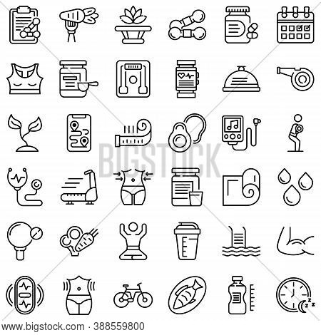 Healthy Lifestyle Icons Set. Outline Set Of Healthy Lifestyle Vector Icons For Web Design Isolated O