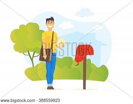 Postmen Delivering Mail, Delivery Service Concept Vector Illustration