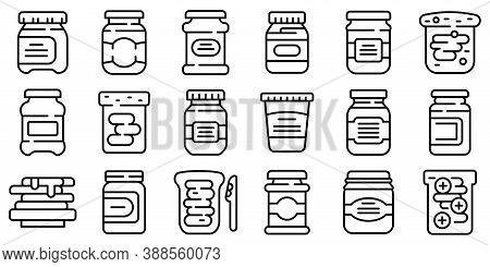 Chocolate Paste Icons Set. Outline Set Of Chocolate Paste Vector Icons For Web Design Isolated On Wh