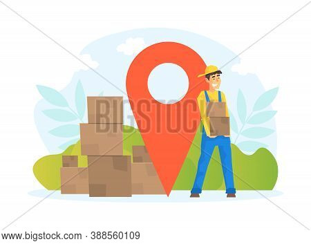 Male Workers Delivering Parcel Boxes, Delivery Service, E-commerce Concept Vector Illustration