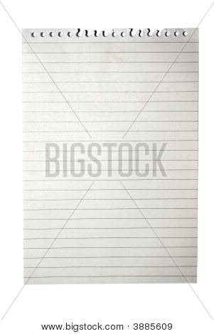 Blank Note Paper From Notebook Isolated On White With Clipping Path