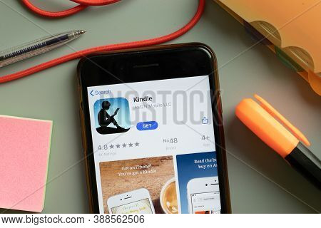 New York, Usa - 29 September 2020: Kindle Mobile App Logo On Phone Screen Close Up, Illustrative Edi