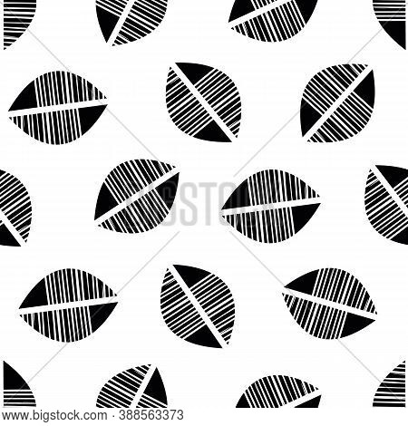 Vector Abstract Mono Print Style Tribal Foliage Seamless Pattern Background. Simple Lino Cut Effect