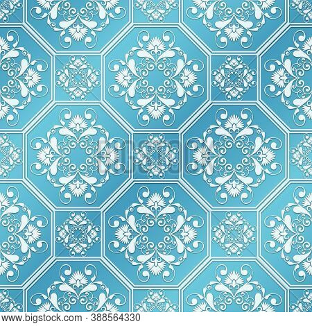 Embossed Seamless Background With Delicate Pattern. Texture As A Background. Embossed Seamless Patte