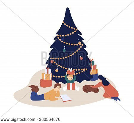 Happy Family Spending Time Together At Xmas Eve Vector Flat Illustration. Mother, Father, Son And Do