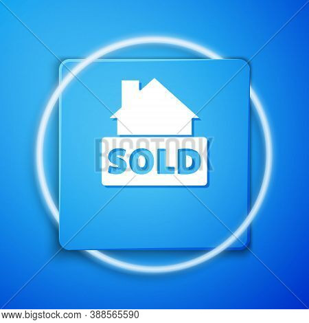 White Hanging Sign With Text Sold Icon Isolated On Blue Background. Sold Sticker. Sold Signboard. Bl