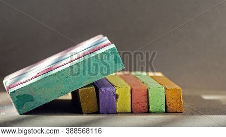 Rainbow Colorful Chalk Pastel For Preschool Children.light Pattern On The Composition Of Crayons.bea