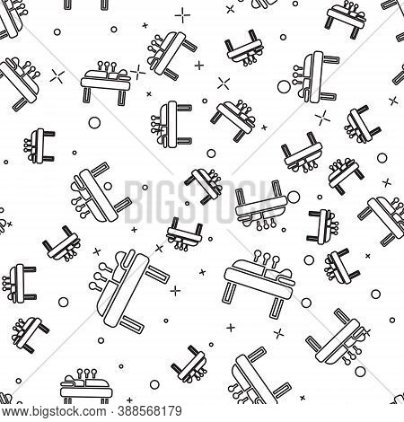 Black Line Acupuncture Therapy Icon Isolated Seamless Pattern On White Background. Chinese Medicine.