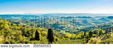 Panoramic View From Town Of San Gimignano To Valley - Italy