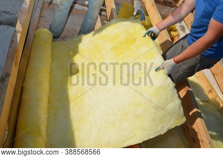 A Building Contractor In Protective Gloves Is Unrolling Fiberglass Insulation Before Its Installatio