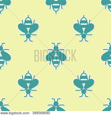 Green Bee Icon Isolated Seamless Pattern On Yellow Background. Sweet Natural Food. Honeybee Or Apis