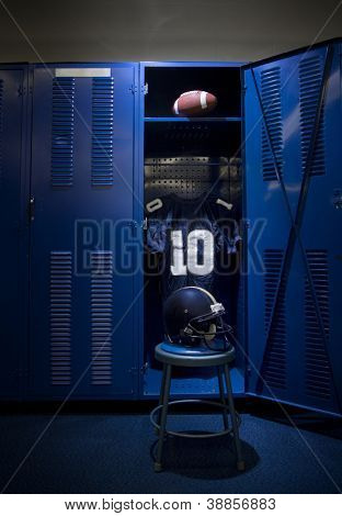 Football Locker in an empty locker room