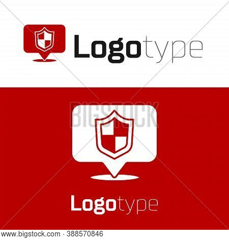 Red Location Shield Icon Isolated On White Background. Insurance Concept. Guard Sign. Security, Safe