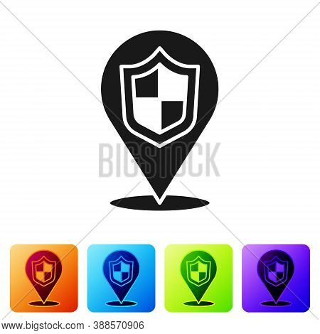 Black Location Shield Icon Isolated On White Background. Insurance Concept. Guard Sign. Security, Sa
