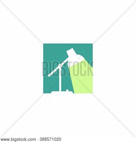 Logo Silhouette Of A Lit Table Lamp, Inside A Square Shape