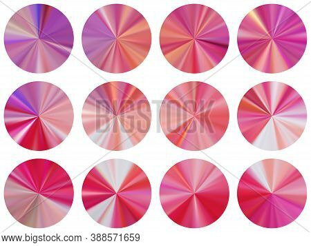 Rose Gold Radial Metallic Gradient Label Elements Vector Set. Isolated Bright Medal Shapes. Button P