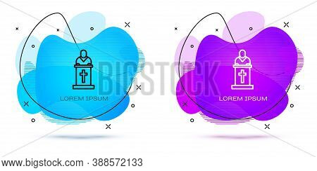 Line Church Pastor Preaching Icon Isolated On White Background. Abstract Banner With Liquid Shapes.