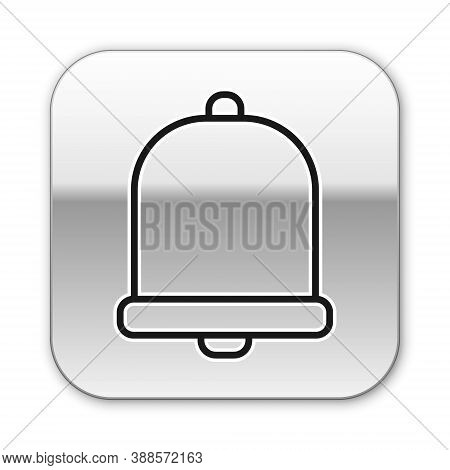 Black Line Church Bell Icon Isolated On White Background. Alarm Symbol, Service Bell, Handbell Sign,