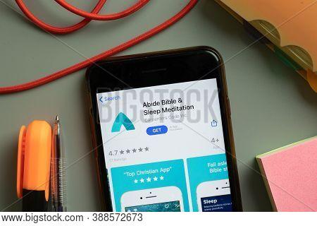 New York, Usa - 29 September 2020: Abide Bible And Sleep Meditation Mobile App Logo On Phone Screen