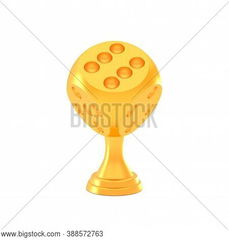 Award Golden Realistic Game Dice Trophy Cup With Stand Leg Isolated On White Background, Vector Illu