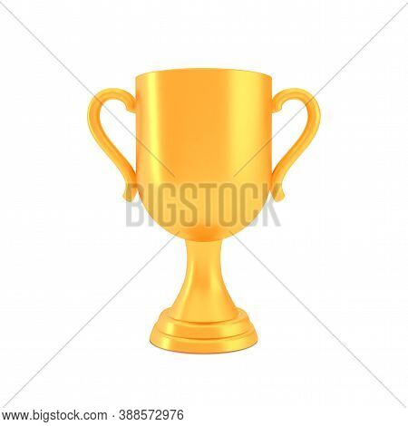 Winner Cup Award, Golden Trophy Logo Isolated On White Background, Realistic Vector Illustration