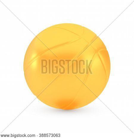 Golden Basketball Award Concept, Shiny Photo Realistic Metallic Ball, 3d Render With Soft Shadows An