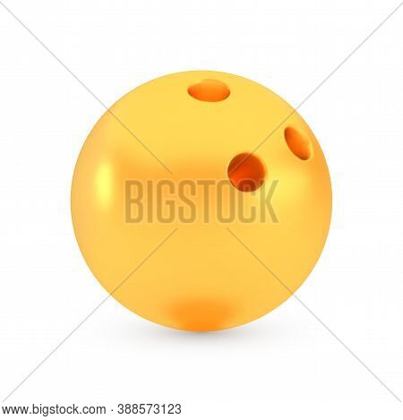 Golden Bowling Award Concept, Shiny Photo Realistic Metallic Ball, 3d Render With Soft Shadows And R