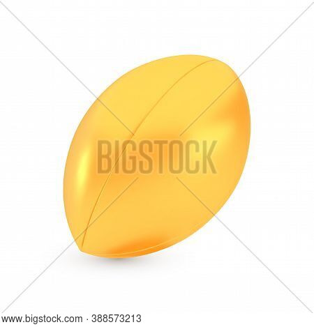 Golden Rugby Award Concept, Shiny Photo Realistic Metallic Ball, 3d Render With Soft Shadows And Ref