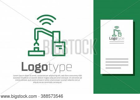 Green Line Industrial Machine Robotic Robot Arm Hand Factory Icon Isolated On White Background. Indu