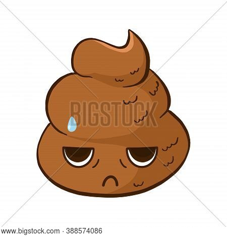 Vector Cute Poop Emoji With A Tired Face Expression. Funny Emoticon With A Sad Poo Pile.