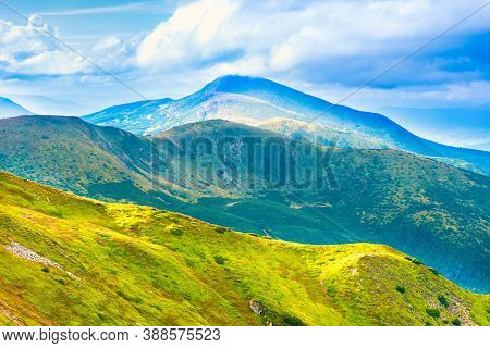 Hoverla Mountain Peak Nature Landscape With Fog, Clouds And Mist
