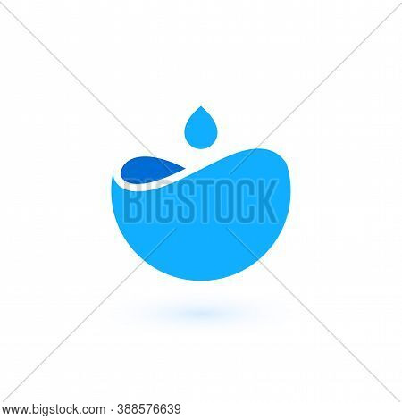 Water Logo Template, Blue Colorful Vector Graphic Design Element For Business Company Branding