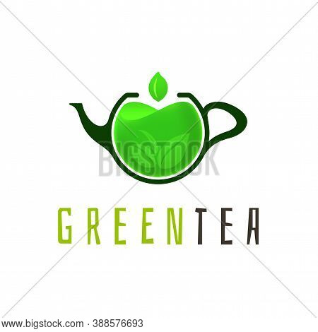 Green Tea Logo Template, Colorful Vector Graphic Design Element For Business, Hot Drink Company Bran