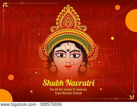 Illustration Of Maa Durga For Celebration Of Festival Of India Happy Navratri, Banner, Poster, Card