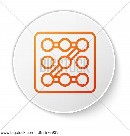 Orange Line Graphic Password Protection And Safety Access Icon Isolated On White Background. Securit