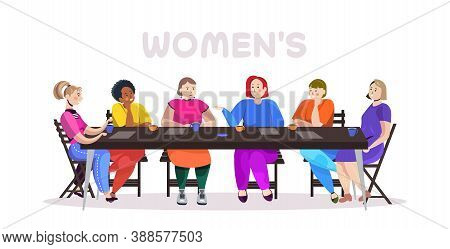 Mix Race Women Discussing During Meeting At Round Table Female Empowerment Movement Girl Power Union