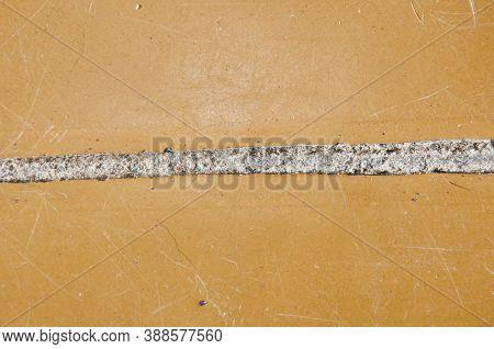 Crack In Linoleum Floor. Linoleum Has Come Apart At The Seam. Hole In The Floor. Poor Substandard Fl
