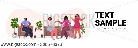 Mix Race Women Discussing During Meeting Female Empowerment Movement Girl Power Union Of Feminists C