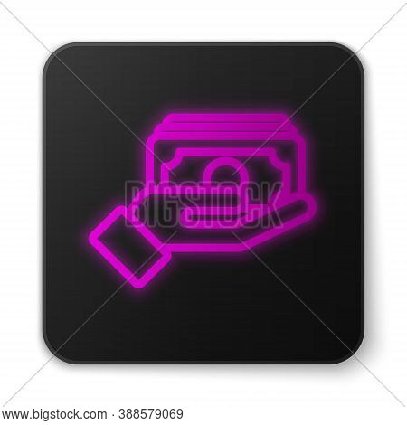 Glowing Neon Line Stacks Paper Money Cash In Hand Icon Isolated On White Background. Insurance Conce