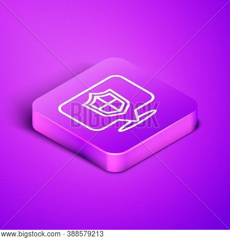 Isometric Line Location Shield Icon Isolated On Purple Background. Insurance Concept. Guard Sign. Se