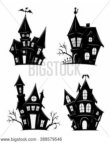 Set Of Haunted Houses For Halloween. Vector Silhouettes Of Scary Old Houses. Mystical Spooky House.