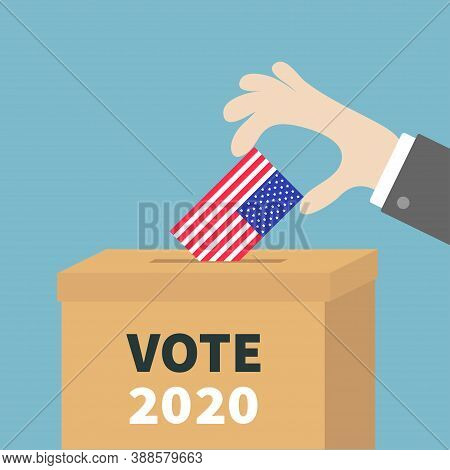 President Election Day Vote 2020. Ballot Voting Box. Businessman Holding American Flag Paper Blank B