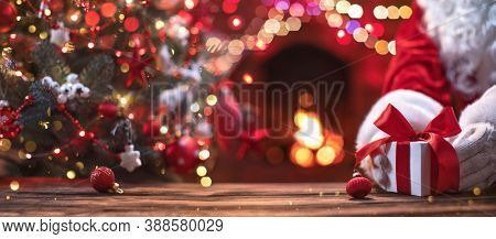 Christmas Present from Santa Claus. Holiday Background