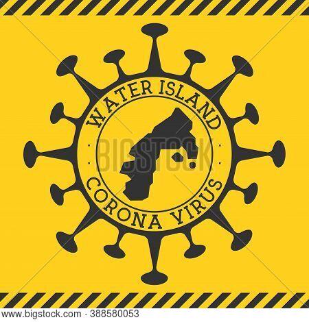 Corona Virus In Water Island Sign. Round Badge With Shape Of Virus And Water Island Map. Yellow Isla