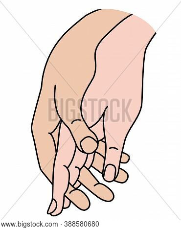 Female And Male Hand. Concept - Tenderness, Love And Passion. Linear Color Hand Drawing. Isolated On