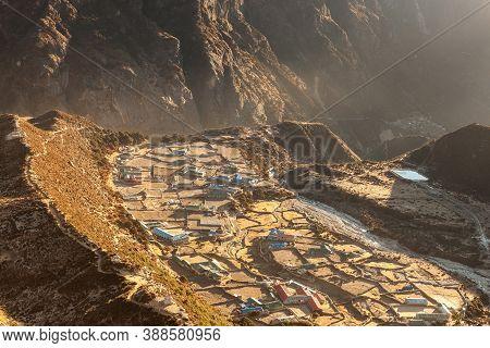 Beautiful Mountain Village Thame In Sagarmatha National Park, Himalayas, Nepal. Idyllic Asian Villag