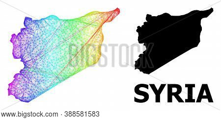 Wire Frame And Solid Map Of Syria. Vector Model Is Created From Map Of Syria With Intersected Random
