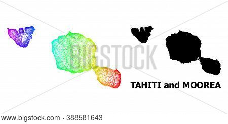 Wire Frame And Solid Map Of Tahiti And Moorea Islands. Vector Structure Is Created From Map Of Tahit